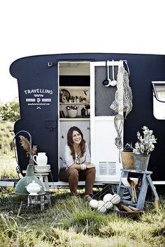 Kara and Frankie the caravan with beautiful vintage homewares ready for the markets. Featured in Country Style Magazine Australia Styled by ©Kara Rosenlund