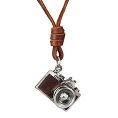 Vintage Leather Camera Pendant Necklace [Black or Brown]