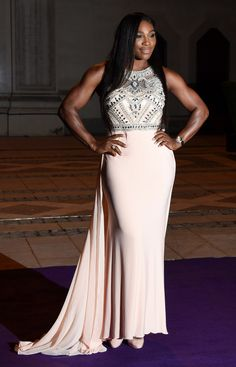 #Serena Williams poses in her beautiful jeweled dress for the Wimbledon ball.