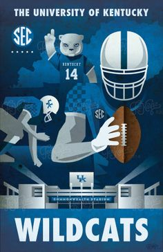 University of Kentucky Football Poster #bbn Kentucky wildcats
