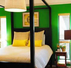 bright green, bright yellow, scrumptious bed