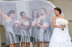 Wedding bridal party in veil