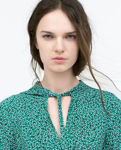 ZARA - WOMAN - TIE-NECK PRINTED SHIRT