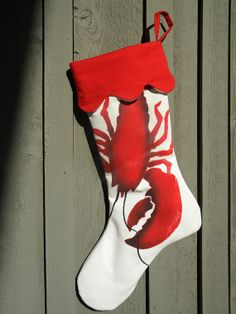 Lobster Christmas 24 stocking red painted seafood by crabbychris, $40.00