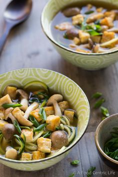 This brothy vegetable miso soup with tempeh is a great recipe for your New Year healthy eating plan. With zucchini noodles and mushrooms.