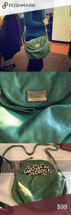 """Magnificent Marc by Marc Jacobs green purse!! Be the belle of brunch with this stylish and oh so chic Marc by Marx Jacobs green leather purse! Slightly worn but in FANTASTIC condition,  this cross body bag is perfect for traveling. Saturday Gossip Sessions, and conquering the workforce.  Please keep this lovely designer bag away from children and hot tubs! Dimensions 12""""W x 7""""H x 2.50""""D Marc Jacobs Bags Crossbody Bags"""