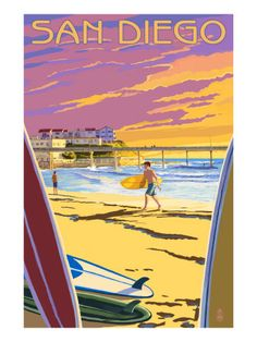 San Diego, California - Beach and Pier Art Print at Art.com