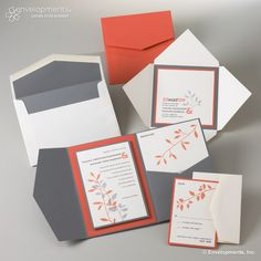 Contemporary Grey and Coral Leaf Custom Wedding Invitations