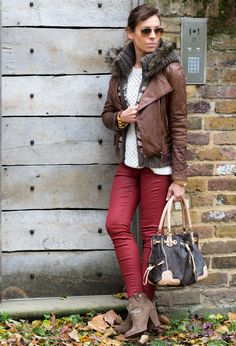 @roressclothes clothing ideas #women fashion brown jacket, red trousers, beige heels