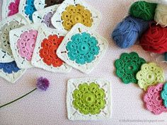 Crochet Flower Square - Tutorial ❥ 4U // hf