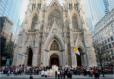 St. Patrick's Cathedral,the symbolic seat of American Catholicism. Pope Benedict XVI celebrated Mass here.Interments:Fulton J. Sheen,Pierre Toussaint.