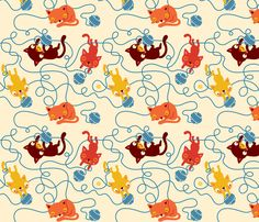 Cats keep the ball rolling fabric by bora on Spoonflower - custom fabric (I would love to use it for wet bags)