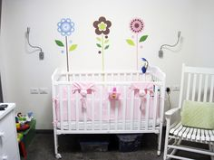 Sweet nursery designed around our Growing Flowers decals -- very cute.