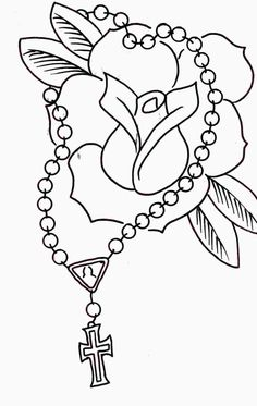 Rosary And Rose Without Color Tattoos