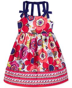 Bonnie Jean Little Girls' or Toddler Girls' Floral & Chevron Dress