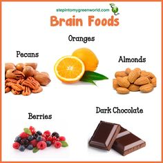 ☛ Food for brain health. ✒ Pecans, Oranges, Almonds, Berries and gotta love that Dark Chocolate. Great snacks!  and Lots of exercise too....
