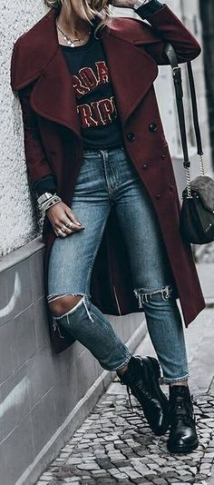 spring fashion trends coat top ripped jeans