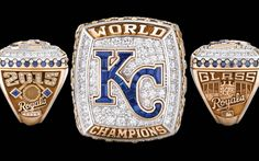 Two types of gold and a variety of gemstones were used to create the rings. The Royals will give away nearly 700 rings in total. World Series Rings, Mlb World Series, Super Bowl Rings, Royals Baseball, Championship Rings, American Sports, Ruby Pendant, Kansas City Royals, Champs