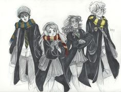 gender bent founders, Roland Ravenclaw, Gwendoline Gryffindor, Sylvia Slytherin, Hugo Hufflepuff