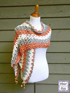 The Tidepool Wrap is lacy and comfy with wonderful drape. Crocheted in cool cotton, it is perfect when you just need a little something for the shoulders. Fun beads add a fabulous accent too!