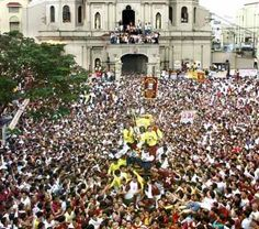 Black Nazarene Fiesta;  Quiapo, Metro Manila, Philippines;  January 1-9;  Cultural events, fireworks, and parades honor the patron saint of the district; culmination is a procession of the statue on the afternoon of Jan. 9.  Manila's largest religious procession.