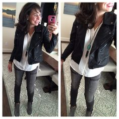 These grey moto skinny jeans are one of my favorite purchases from the Nordstrom Anniversary Sale.  The jacket is also a great piece (and it's only $63.90 right now!)!  Prices go up on everything in 2 days!