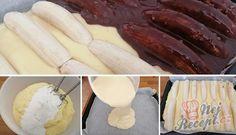 Úžasné hrnkové řezy Banana Split | NejRecept.cz Izu, Kefir, Cake Cookies, Nutella, Quiche, Sausage, Food And Drink, Ethnic Recipes, Cakes