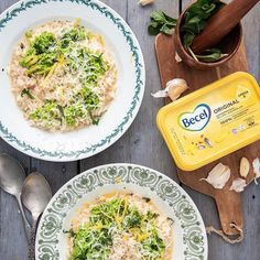 Kaupallinen yhteistyö: Becel. Kauniin vihreässä hernerisotossa maistuu raikas sitrus ja herkullisen makea hernepesto! Kerrassaan mainio yhdistelmä 😋 Ohje löytyy nyt blogista #becel #elähyvin #syöhyvin #hernerisotto #sitruunarisotto #risotto #parmesan #kevät #aurinko Omega 3, Margarita, Pesto, Risotto, Curry, Dinner, The Originals, Ethnic Recipes, Food
