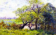 Paysage, printemps, huile sur toile de Frederick Mccubbin (1855-1917, Australia)
