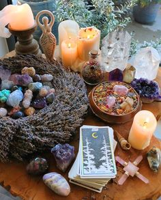 Tarot, candles and crystals in Wiccan altar 🌙🌼 Autel Wiccan, Magick, Witchcraft, Pagan Altar, Pagan Decor, Spiritual Decor, Spiritual Healer, Meditation Space, Witch Aesthetic