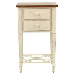 Safavieh Monica Two-drawer Antique White and Dark Brown Beech Side Table   Overstock.com Shopping - Great Deals on Safavieh Coffee, Sofa & E...