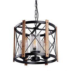 Eumyviv Circular Wood Metal Pendant Lamp Light Fixture with Glass Shade Black Finished Retro Rustic Vintage Industrial Edison Ceiling Lamp Chandeliers Rustic Chandelier Lighting, Wood And Metal Chandelier, Industrial Hanging Lights, Chandelier For Sale, Chandeliers, House Lighting, Glass Chandelier, Kitchen Lighting, Decorative Ceiling Lights