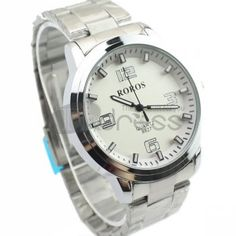 The white simple numeric personalized steel strip watch