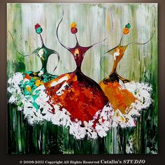 Abstract Ballet, Ballerina Painting Textured Modern Palette Knife Impasto Art by Catalin 20x20x1.5