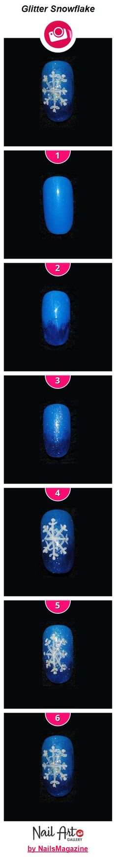 Glitter Snowflake nail art how-to from Nail Art Gallery.