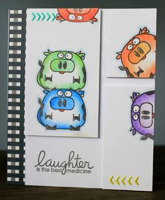 Laughter is the best medicine card by Karen Oliver - Paper Smooches - Chubby Chums