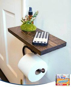 Unir el soporte del rollo a una estantería nos permite aprovechar mejor el espacio en nuestro baño. Desde un móvil a un libro podrán encontrar ese soporte temporal que nunca tenían en tu baño... ¡hasta ahora!