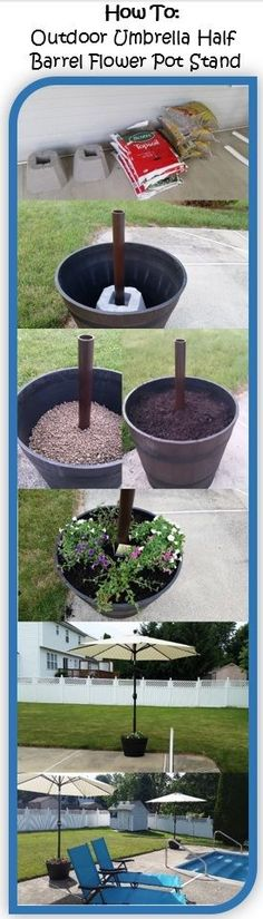 How to make an outdoor pool umbrella half barrel flower pot stand. Real/resin half barrel (drill holes in the bottom for drainage) QUIKRETE or a cement block that has a hole in the center for your post Put in PVC pipe (spray paint to likin Backyard Projects, Outdoor Projects, Backyard Patio, Garden Projects, Backyard Landscaping, Backyard Shade, Patio Bar, Landscaping Design, Outdoor Umbrella
