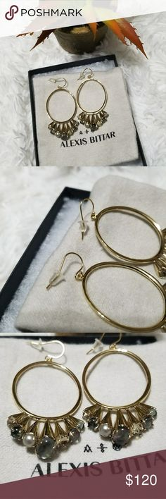 "NWOT Alexis Bittar Arrayed Stone Wire Earrings 🔸️Length approx 2.1"" 🔸️Hoops with stone cluster 🔸️Light quartz crystal, light moss crystal, black mother of pearl doublet, shell based pearl, and brass.  🌹Remember to bundle and save!🌹 Alexis Bittar Jewelry Earrings"