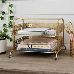 Add a touch of glam to your desktop decor with our Gold Two Tier Desk Organizer. You'll love its modern frame and perforated bins sorting your inbox and outbox! Work Desk Decor, Home Office Decor, Office Desk Decorations, Cute Desk Decor, Gold Home Decor, Desk Organization Tips, Desktop Organization, Desktop Storage, Desktop Decor