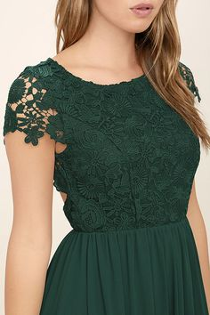 Lovely Forest Green Dress - Lace Dress - Maxi Dress - $86.00