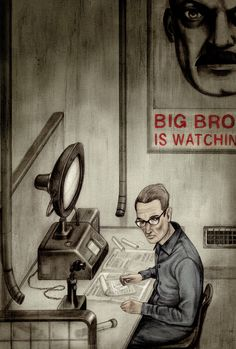 "Haunting Illustrations for Orwell's Nineteen Eighty-Four, Introduced by the Courageous Journalist Who Broke the Edward Snowden Story - by Maria Popova - ""It was a bright cold day in April, and the clocks were striking thirteen."" - http://www.brainpickings.org/2014/12/19/folio-society-george-orwell-1984/"