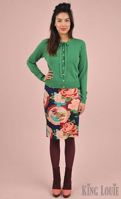 A/W 2015 Lookbook Image; retro inspired cardi Knot' with a classy bow & Tulip skirt in the Chinese floral print 'Lovely'