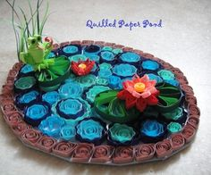 Quilled paper pond - like, in my dreams could i ever make this, a quiller i am not - what would it look like large scale on a wall instead of table?