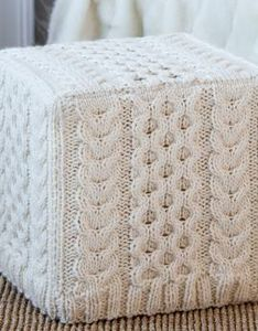 Cabled Ottoman Cover Knitting Pattern:  #knit #knitting #free #pattern #freepattern #freeknittingpattern #freeCoversKnittingPatterns