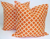 Orange Pillows.SET OF TWO 18x18 inch.Decorator Pillow Covers. $38.00, via Etsy.