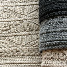 Inis Meáin Knitting Company's knitwear reflects the hues of the surrounding landscape (Knitted Shawl, €195; Knitted Scarf, €125. The Aran Scarf is also available at Barneys for $175.)