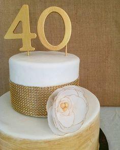 Happy Birthday to Katie and Company! #40andfabulous #marshmallowfondant #waferpaperflowers