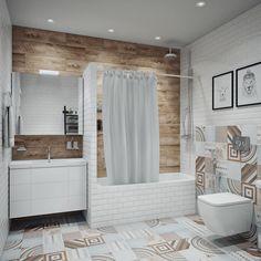 Ванная в скандинавском стиле: Ванные комнаты в . Автор - Анна Теклюк