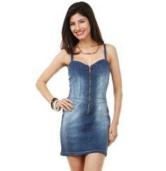 Vestido feminino em jeans alças finas